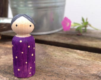 Painted Peg Doll with Grey Hair