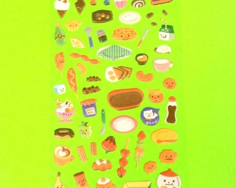 Dessert Bowl Fruit Food Kitchen Cute Super Kawaii Kitschy Kyuuto Puffy Vinyl Sticker Set