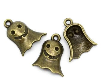 10 charms ghost metal color bronze