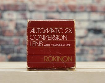 Vintage Rokinon Automatic 2x Conversion Lens with Carrying Case for Canon