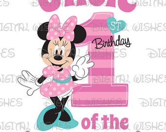 Minnie Mouse 1st Birthday stripes hearts Uncle of the Birthday Girl Digital Iron on transfer image clip art INSTANT DOWNLOAD DIY for Shirt