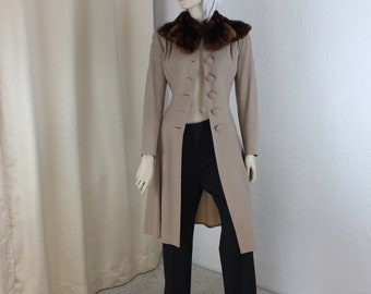 Vintage 1940s Coat Mink Collar Size XS Outerwear