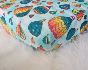 Hot Air Balloons in Blue Skies  - Fitted Crib/Toddler Sheet - Flannel Diaper Changing Pad Cover