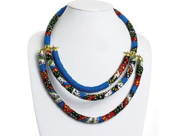 Handmade  Kitenge 3-Row Multi Necklace - ASSORTED