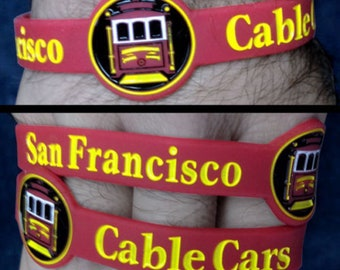 San Francisco Cable Cars Silicone Wristband Trains Rail Transport Grip Man TW025