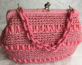 Vintage Pink Marcus Brothers Woven Raffia Straw Structured Purse Hand Bag