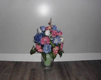 Cemetery Flowers, Cemetery Decoration, Cemetery Vase, Memorial Vase, Blue Rose and Mauve Rose, Memorial Day Flowers  FF750