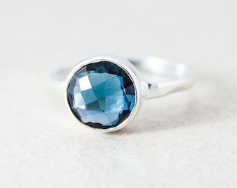 London Blue Topaz Quartz Ring - Silver - Stacking Ring, December Birthstone