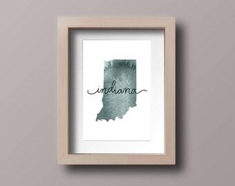 Indiana watercolor map, download printable, watercolor map, map printable, Indiana, state map