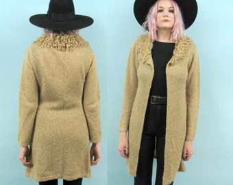 90s Open Cardigan with Shaggy Collar, Vintage Long Tan Sweater, Loose Knit, Size Small, Spice Girls,