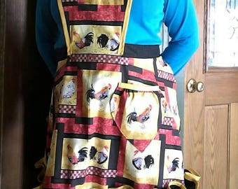 Roosters and Ruffles  100% Cotton Full Apron. Made from a Vintage 1940's Retro Pattern!