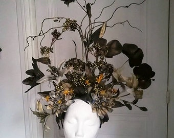 Black and gold headpiece headdress goddess geisha art nouveau burlesqud