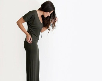 Maxi Dress | Short Sleeve | Long Floor Length | Draped Dresses | Boho Bohemian | Made in our USA loft | L415 & Co Clothing (#415-413)