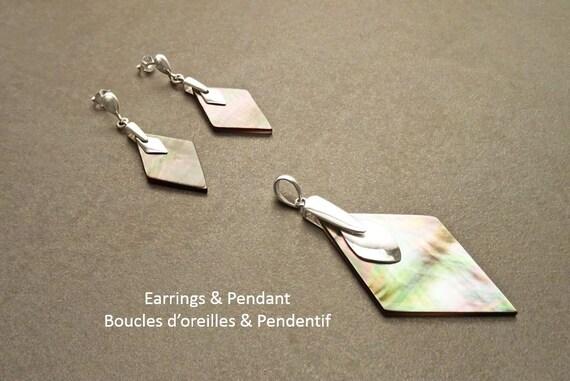 GENUINE Gray Paua Shell Earrings and Pendant SET, Sterling Silver, Grey Pearl Iridescent Rainbow Highlights, Geometric Minimalist Design