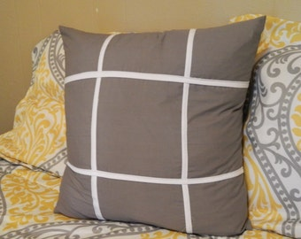 Grey pillow and white pillow, gray accent pillow, throw pillow in gray