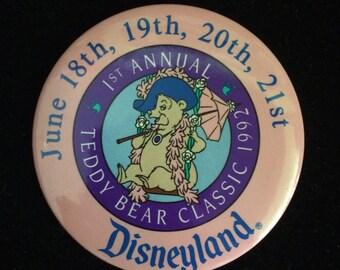 Disneyland Button Teddy Bear Classic 1992