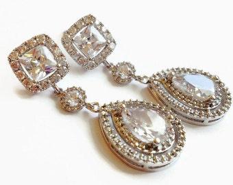 Square Cut Teardrop Wedding Bridal Earrings - Wedding Jewelry - Long Bridal Earrings - Teardrop Earrings - Bridesmaid Gift