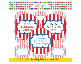 PDF Editable Circus Style 2.5 Inch Circles Digital Collage Sheet (No. 180) Stickers Labels Cupcake Toppers Lollipops Avery 5294