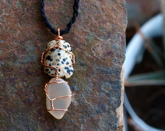 Dalmation Jasper and Moonstone Necklace - Sustainably Sourced Copper, Long Black Hand Braided Hemp - Ecofriendly, Fair Trade, Men's, Woman's