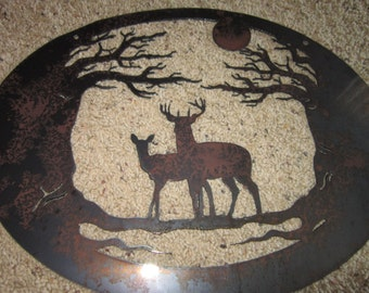 Deer in Moonlight-Metal Art