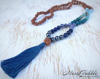Mala Necklace, Rudraksha Mala, Mala Bead Necklace, Gemstone Mala, 108 Mala Beads, Buddhist Jewelry, Prayer Beads, Mala Beads, Mala Beads 108
