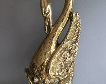 Antique Victorian Brass Swan Door Stop