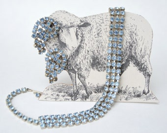 Vintage Light Blue Rhinestone Necklace Set . Matching Earrings . Glass Rhinestones . Pale Blue