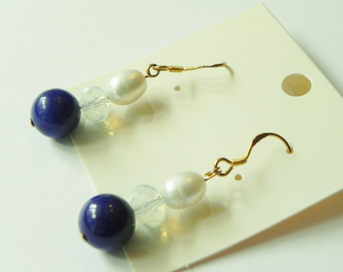 Pearl,  blue howlite and crystal earrings with gold plated sterling silver hooks