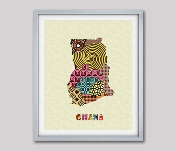 Ghana Map Wall Art Print, West African Art, African Decor Ghana, Map Art Print Poster, Afrocentric Travel Art Print, Ghana Map with Regions
