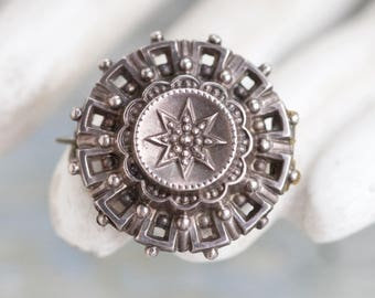 Victorian Lapel Pin - Sterling Silver Brooch - Small - Antique Gothic Oxidized Jewelry