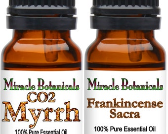 Miracle Botanicals Frankincense and Myrrh Essential Oil Set - 100% Pure Frankincense Sacra and CO2 Myrrh.....Free US Shipping