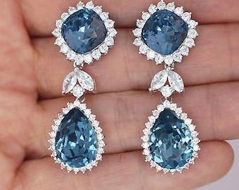Navy Blue Earrings, Blue Crystal Earrings, Blue Wedding Earrings with Swarovski Rhinestones, Denim blue Bridal Earrings