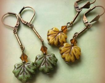 Czech Glass Autumn Oak Leaf Earrings