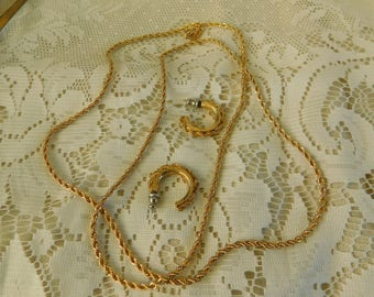 Gold Demi Parure, Gold Chain Necklace and Earrings, Braided Chain Necklace and Earrings, 1980's Costume Jewelry