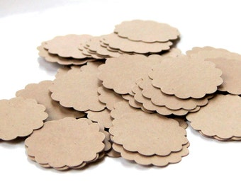 50 Round Scallop Tags in KRAFT . 1.25 inch