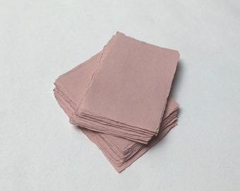 """4.1"""" x 5.8"""" (A6) Pink, 210gsm Handmade Deckle Edge Cotton Rag Paper // Deckle Edge Paper, Cotton Paper, Invitation Paper, Calligraphy Paper"""