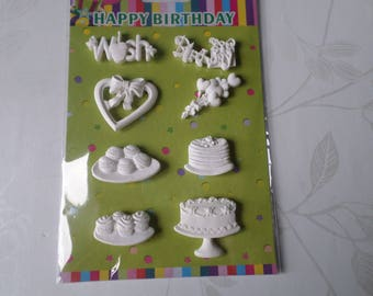 x 8 mixed resin birthday themed embellishments