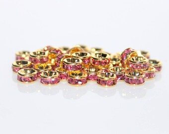 Spacer beads rhinestone rose gold rings / 5mm / set of 10