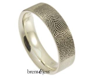 Wide Comfort Fit Fingerprint Wedding Ring with Tip Print on the Outside in High Polish Sterling Silver, Fingerprint Ring