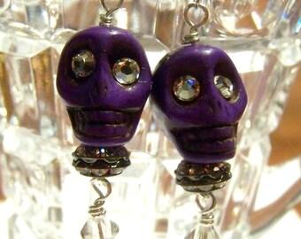 Earrings Skull Purple Howlite Stone Bead Jewelry Day of the Dead OOAK
