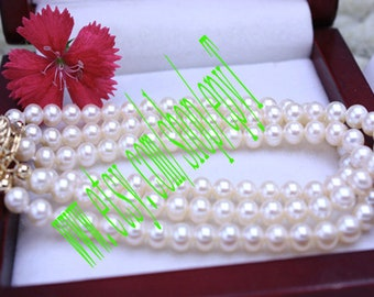 Top Quality , white Freshwater pearl triple strands bracelet , genuine Freshwater pearl triple double