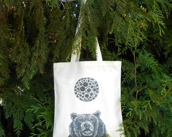 Molecular Bear Tote Bag - Grizzly Bear - Illustrated Animal Tote Bag