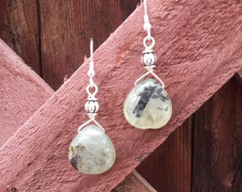 Agate teardrops with silver accents
