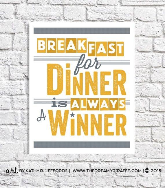 Retro Kitchen Art Breakfast For Dinner Print Breakfast Nook