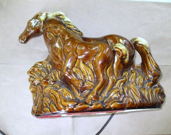Phil-Mar Vintage Brown Glaze Mare and Foal Television Lamp