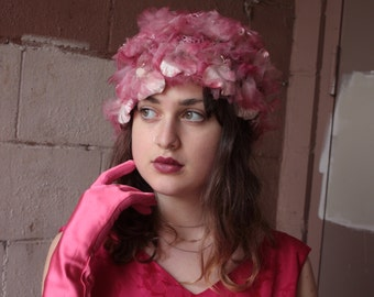 Vintage 1950's Hat // 50s 60s Pink Floral Net Hat with Pompoms // Rosy Chiffon and Velvet Millinery Flowers