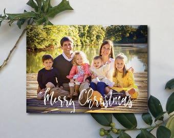 """Photo Christmas Card. """"Merry Christmas"""" with kraft back."""