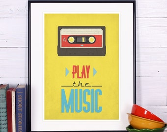 Retro print, cassette, tape poster, mid-century vintage poster, music wall decor, A3, typography, wall decoration