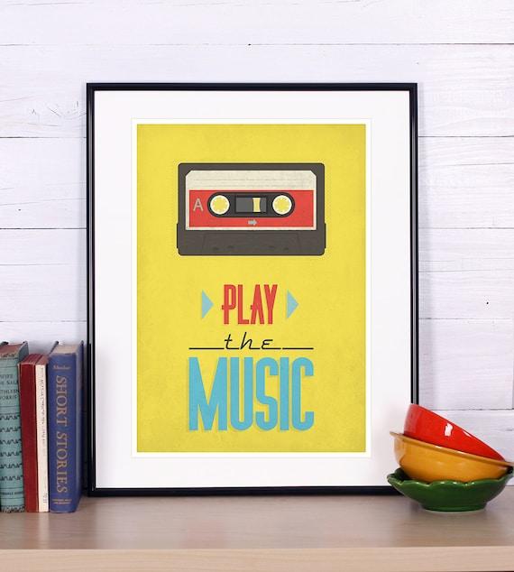 Retro print cassette tape poster mid-century vintage