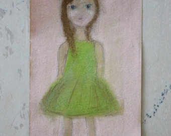 Small Original Pastels Drawing - Little girl with green summer dress - Delicate paper - Small format original fine art